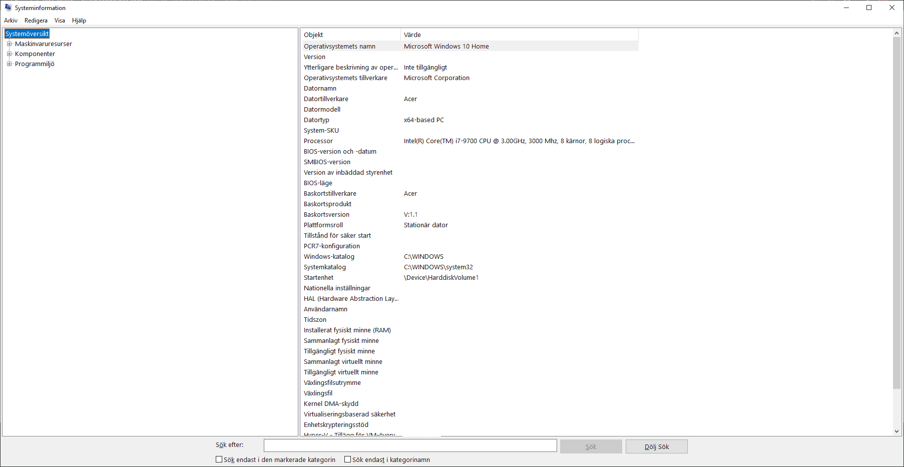 hur man ser datorns specifikationer